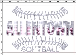 Allentown Softball Ladies Rhinestone V-neck T-shirt
