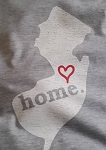 NJ Home - Distressed Logo on Burnout Big League Baseball T-Shirt
