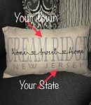 Personalized Home Town 12 x 20  Burlap Pillow