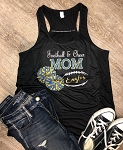 Inspired Apparel - Bella Tank with Football & Cheer Mom in Glitter