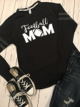 Inspired Apparel - Sparkle Stripe Crew with Football Mom Glitter Design