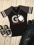 Inspired Apparel - Women's Game V-neck Tee with GO Redbirds in Glitter