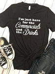 Inspired Apparel - Just Here for the Commercials and the Drinks Glitter Design Tee