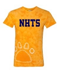 New Hanover Spiritwear- Tie-Dyed Paw Print T-shirt- Gold