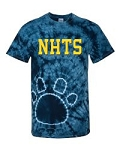 New Hanover Spiritwear- Tie-Dyed Paw Print T-shirt- Navy