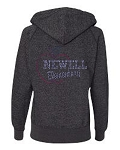 Newell Spiritwear Apparel -Ladies Glitter Full Zip Hooded Sweatshirt with Rhinestones