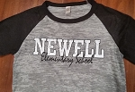 Newell Elementary - Distressed Logo on Burnout Big League Baseball T-Shirt