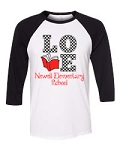 Newell Elementary Love to Read Long Sleeve Bella + Canvas - Unisex Three-Quarter Sleeve Baseball Tee
