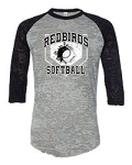 Redbirds Softball - HOME PLATE DESIGN- Distressed Logo on Burnout Big League Baseball T-Shirt