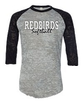 Redbirds Softball - REDBIRDS SOFTBALL DESIGN- Distressed Logo on Burnout Big League Baseball T-Shirt