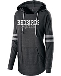 Redbirds Softball - REDBIRDS SOFTBALL DESIGN-Junior's Hooded Low Key Pullover with Distressed Logo