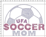 UFA Soccer Mom Ladies Rhinestone Crewneck T-shirt