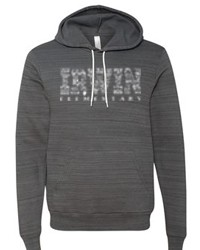 Bella+Canvas Unisex Hooded Sweatshirt in Charcoal Marble with Irwin Design