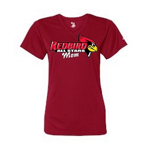 Redbirds All Stars Mom- Red V-neck Performance Tee