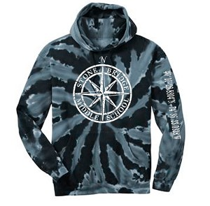 Stone Bridge Middle School - Hooded Sweatshirt with Distressed Compass and Distressed GPS Coordinates on Sleeve