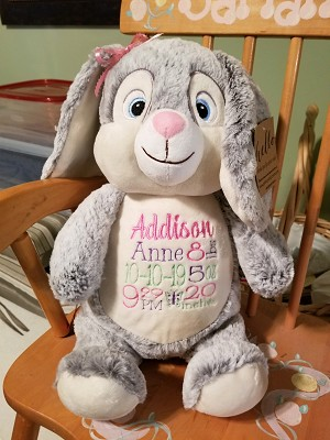 Personalized Embroidered Bunny - Birth Announcement