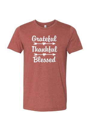 Grateful Thankful Blessed Tee in Heather Clay